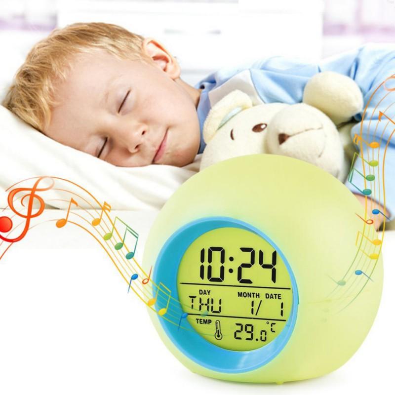 Electronic Snooze Digital Alarm Clocks , 7-LED Color Changin
