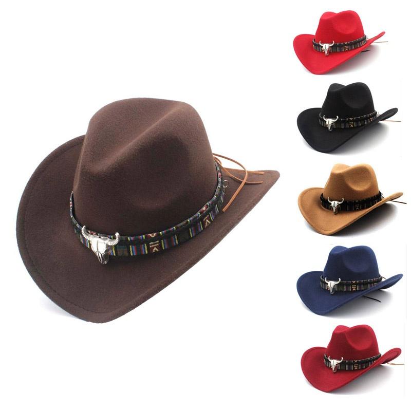 eec6d154 Details about UK Men Women Retro Western Equestrian Cowboy Hat Turquoise  Belts Jazz Cap Cool