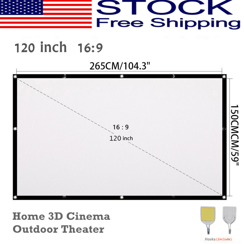"""120"""" Large Screen 16:9 HD Movie Projector Screen Outdoor Hom"""